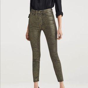 High Waist Ankle Skinny Metallic Leopard Jeans